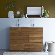Tikamoon Karl Oak And Ceramic Vanity Cabinet 120