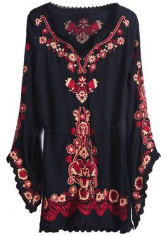 Black Long Puff Sleeve Embroidery Blouse