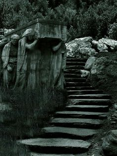"""Cemetery """"Stairway to Heaven"""" Cemetery Statues, Cemetery Headstones, Old Cemeteries, Cemetery Art, Graveyards, Between Two Worlds, Bild Tattoos, Stairway To Heaven, Haunted Places"""