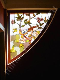Faceted stained glass window is made in the studio of Olga Minaeva, Russia