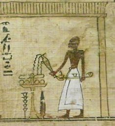 Papyrus Depiction of a Libation Ceremony; Incencing in front of a deceased person; African History, African Art, Egyptian Artwork, Kemet Egypt, Wall Paintings, North Africa, Ancient Egypt, Temples, Black History