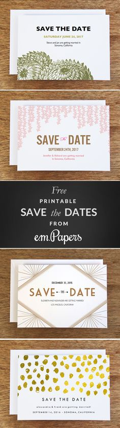 "Choose from any of over 36 beautiful e.m.papers #printable Save the Dates to download for #free. e.m.papers wedding designs have been featured in Martha Stewart Weddings, The New York Times, Goop, BRIDES magazine and many, many fantastic blogs. Here's what one bride had to say ""Lovely design. Easy and fast! I have received so many compliments!"""