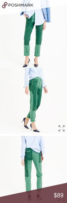 """J. CREW PATCHWORK GREEN KHAKI CARGO PANTS EUC, no issues. Sits above hip. Relaxed through hip and thigh, with a slim, straight leg, 29"""" inseam. A design fav, patchwork cargo pants in our drapey chino fabric (really soft and worn in, just like your fav pair) are all about the details. We took our time perfecting the color process, dyeing the patched fabric a darker shade, sewing it on and then overdyeing the whole thing (so it has tonal variations). We finished with zigzag repair stitches…"""