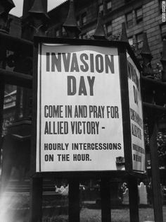 A sign outside of Trinity Church in New York invites worshippers to pray for Allied victory in the D-Day invasion