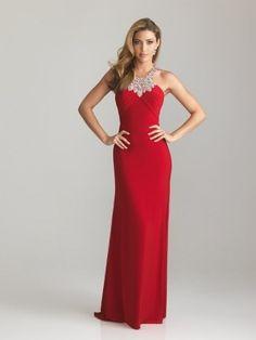 Charming Floor Length Elastic Satin Jewel Sheath/Column Dress
