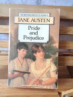 Vintage paperback book Pride and Prejudice Jane Austen fiction book historical satire romance novel of manners Mr Darcy Elizabeth Bennet by TrooperslaneBooks on Etsy