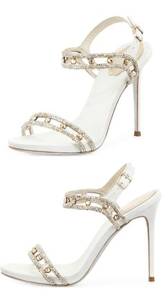 Have you heard of Rene Caovilla? I hadn't either, but they make incredible shoes! They're made in Italy, so do yourself a favor and don't check out the price! | white, rhinestones, sandals, heels