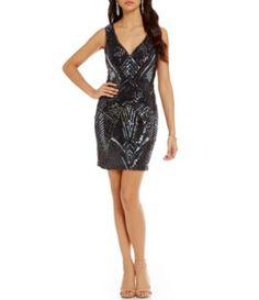 B. Darlin Sequin-Pattern Sleeveless Sheath Dress #Dillards