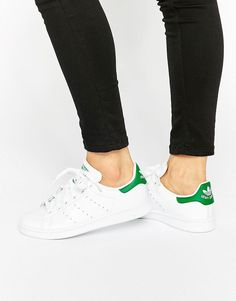 buy online 6240a 61a37 adidas Originals white and green Stan Smith Trainers at asos.com