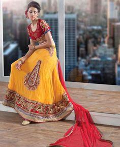 Buy Charming Yellow & Red Lehenga Choli online at  https://www.a1designerwear.com/charming-yellow-red-lehenga-choli  Price: $70.66 USD