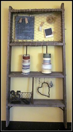 rustic organizing shelves from old ladder