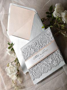 Lace Romantic Wedding Invitations 20 Silver by forlovepolkadots