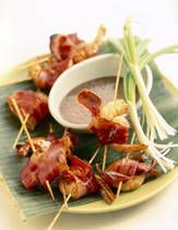 Bacon Wrapped Shrimp. These turned out great!! The recipe is simple and you can make them ahead of time and then broil when you are ready! Served them with a spicy mango chutney and a BBQ sauce...Delicious!