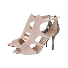 JIMMY CHOO Tendor cutout suede sandals - The cutout panels on Jimmy Choo's 'Tendor' sandals flatter and slim your feet. We love the contrast of the soft blush suede and the glossy gunmetal leather heel. Style this pair with neutral tailoring or an elegant dress. - Found at myWebRoom.com