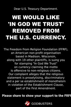 Read the first amendment. After doing so, no reasonable & objective person can deny this demand. Anti Religion, Religion And Politics, Atheist Quotes, Athiest, In God We Trust, Pro Choice, In This World, How To Remove, Wisdom