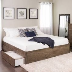 Add storage, style and comfort to your bedroom with the Prepac Select Platform Bed. The elegant design features solid wood posts with a sleek finished bed frame. Custom hardware keeps the bed aligned and requires only your mattress. The wood s Bed Platform, Upholstered Platform Bed, Bedroom Furniture, Bedroom Decor, Bedroom Ideas, Bed Ideas, Bedroom Curtains, Furniture Stores, Wall Decor