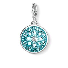 Charm - lobster clasp - 925 Sterling silver - zirconia white - turquoise enamelled Flower dreams: the turquoise flower ornament in Mandala look surrounds the sparkling zirconia stone in the centre of the disc-shaped charm.