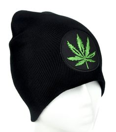 b60900564f90 Pot Leaf Beanie Knit Cap - High Quality Stitching - Cotton Twill -  Embroidered Cotton