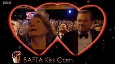Leonardo DiCaprio took Dame Maggie Smith by delighted surprise. | The Celebrity Kiss Cam Was The Best Thing About The 2016 BAFTAs