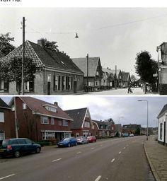 Nijverdalsestraat begin jaren 30 vergeleken met een foto van nu.