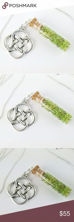 """Celtic Charm Pixie Bottle Necklace Celtic Charm pixie bottle necklace. Glass bottle is filled with bright Genuine Peridot stone chips. On a 30"""" .925 Sterling Silver snake chain.   Price is firm unless bundled. High quality materials. Only one of its kind. Thank you  Magen's Fairytale Creations original handmade by me. Magen's Fairytale Creations Jewelry Necklaces"""