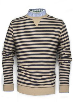 Long sleeved striped sweatshirt with a crewneck with stitched v-shaped panel, reinforced cuffs and hem. Jumper, Men Sweater, Suit Of Armor, Man United, Mango, Mens Sweatshirts, Cool Style, Crew Neck, Suits