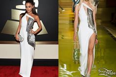 Ariana Grande walked the red carpet at the 2015 GRAMMY Awards tonight wearing a gown from the Versace Spring 2014 Ready To Wear Collection (not available online).
