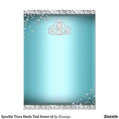 Shop Sparkle Tiara Heels Teal Sweet 16 Invitation created by Zizzago.