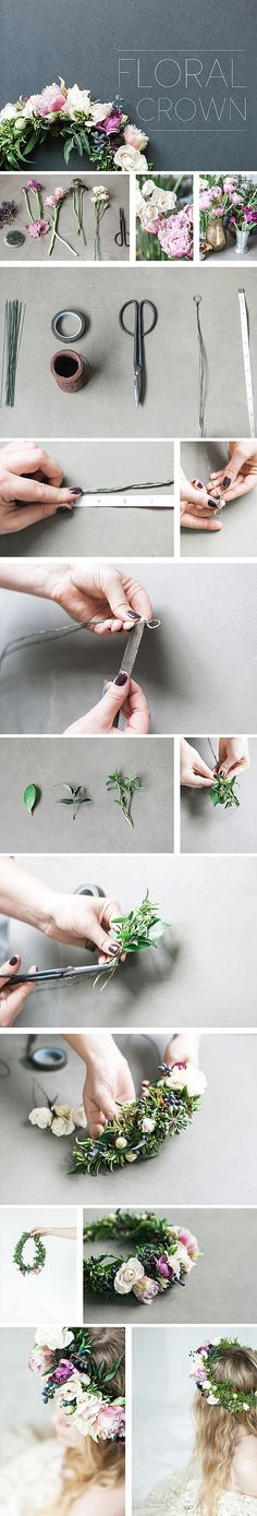 FREE DIY TUTORIAL: How To Floral Crown Step-by-step, everything you need to know about creating an unique, one-of-a-kind flower hair wreath. Perfect for a wedding, birthday party, photo shoot, maternity shower or just for fun. Floral design by: Bee, Leaves N' Love . Check out our hands-on botanical and floral workshops hosted by HEX, in our Grass Valley, Ca location.  Photography | Angela Nunnink Photography