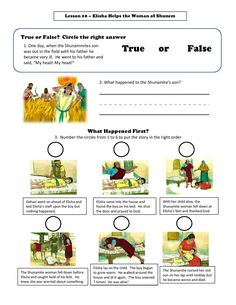 FIll out the true or false questions about Elisha and the Shunnamite woman. True Or False Questions, Primary Lessons, Fill, Shit Happens, Woman, Women