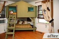 what a cool bed! Make for my bedroom... the dog could get the bottom bunk... leaves more room up top for me! Make it into a beach hut... need to figure a way of getting the sound of waves in the room LOL