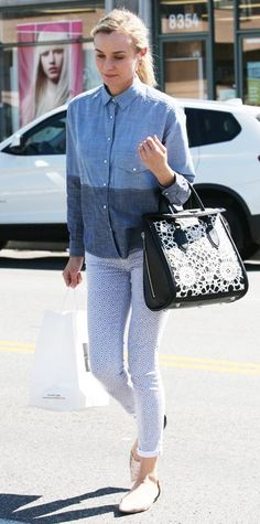 For a day out in West Hollywood, Kruger worked a button-down shirt from Zara and Adriano Goldschmied jeans. The actress completed her look with an Alexander McQueen handbag and 3.1 Phillip Lim flats.