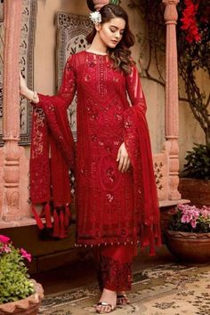 Exhibiting an elegant embroidery and stitch detailing, this red georgette trouser suit which will be scene-stealing ethnic wear to shine in the spotlight. This round neck and full sleeve wedding wear suit designed using sequins and thread work. Available with santoon straight pants in red color with red nazneen dupatta. Straight pants has sequins and thread work. Dupatta elaborated using sequins and thread work. #trousersuit #salwarkameez #malaysia #Indianwear #Indiandresses #andaazfashion Pakistani Party Wear, Pakistani Dress Design, Pakistani Suits, Punjabi Suits, Pakistani Dresses Online, Indian Dresses, Lehenga Choli, Sarees, Ladies Salwar Kameez