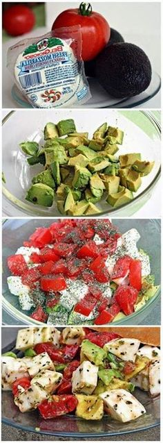 Healthy Recipes Avocado / Tomato/ Mozzarella Salad - A splash of lemon and hint of refreshing mint brighten up the medley of red tomatoes, creamy mozzarella and ripe avocados in this colorful, sensational salad. Vegetarian Recipes, Cooking Recipes, Healthy Recipes, Simple Salad Recipes, Keto Recipes, Advocare Recipes, Easy Salads, Comidas Lights, Tomato Mozzarella Salad
