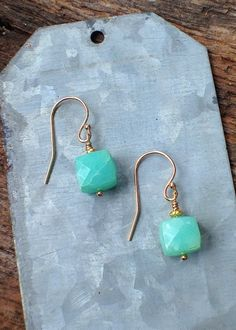 Chrysoprase Cube Earrings, Gold vermeil bead , Mint and Gold Earrings, Gemstone Earrings, Gold Filled Ear wire, Gift for Her, Boho Jewelry