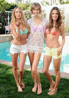 The Victoria's Secret Angels are out to play... #CandiceSwanepoel #KarlieKloss #AlessandraAmbrosio  © Getty Images