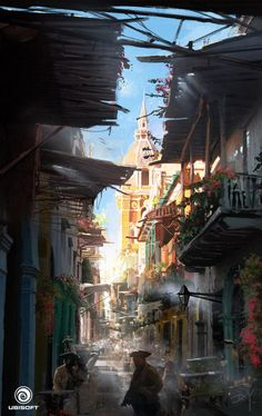 Assassin's Creed IV: Black Flag - Alley, Donglu Yu on ArtStation at http://www.artstation.com/artwork/assassin-s-creed-iv-black-flag-alley