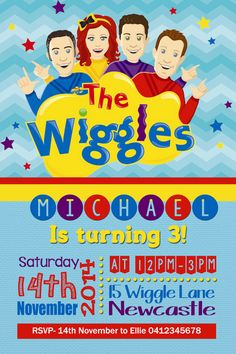 The Wiggles Birthday invitation Boys by JadeADigitalInvites Wiggles Party, Wiggles Birthday, The Wiggles, Twin Birthday, Baby First Birthday, 3rd Birthday Parties, Wiggles Cake, Birthday Ideas, Boy Birthday Invitations