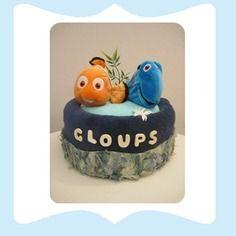 La baby shower de maman Gâteau de couches bleu pour garçon nemo poisson corail