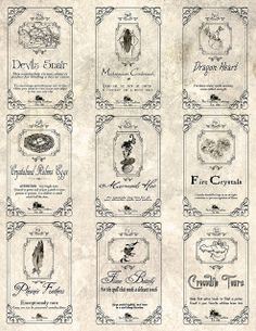 Magic Potion Harry Potter Hocus Pocus Halloween Witch and Apothecary labels; The Cackling Cauldron Original labels : set 1 Halloween Potion Bottles, Halloween Apothecary, Halloween Labels, Fete Halloween, Holidays Halloween, Halloween Crafts, Happy Halloween, Halloween Decorations, Spooky Halloween