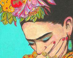 50% de descuento venta FRIDA KAHLO Print mexicana Folk arte México pintura Frida piensa cartel Home Decor arte Picturec de pared
