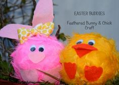 10 min Easter Craft- Feathered Bunny & Chick. Fun craft for children. DIY -- for marionette project