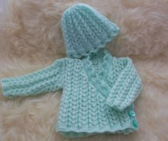 Hand Knitted Baby Clothes - Girls Pretty Knitted Cardigan & Hat Set  0-6 Months £15.00