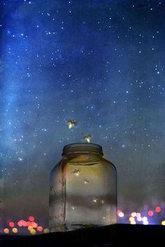 Catching fireflies on summer nights