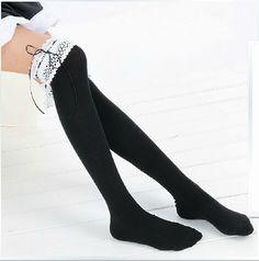 DISHY DREAM Thigh High black socks,  opaque sexy long stockings, over the knee socks, lace long  socks ,girls leg warmers,back  to school, by Hemiao on Etsy https://www.etsy.com/listing/201809588/dishy-dream-thigh-high-black-socks