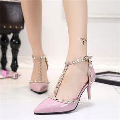High Heels Pointed Toe Rivet T-strap Pumps novashe.com T Strap Heels c6ad54ca584