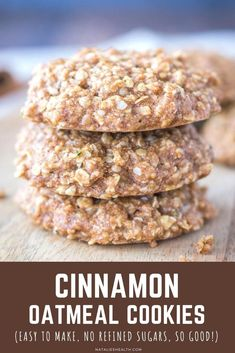These Cinnamon Oatmeal Cookies are perfect treat. They are made with simple pantry ingredients and packed with flavor and nutrients. Made WITHOUT REFINED SUGAR, and whole grain, these oatmeal cookies make tasty breakfast, kids school snack or afternoon treat. ------- #cookies #oatmeal #oatmealcookies #healthy #easy #dessert #picnic #lunchbox #afterschool #cinnamon #cinnamoncookies #backtoschool #snack