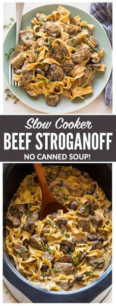 The BEST recipe for Slow Cooker Beef Stroganoff from scratch! Healthy version without the canned soup. EASY, creamy crockpot recipe with steak, mushrooms, and Greek yogurt instead of sour cream. Our whole family loves it! #beefstroganoff #healthy #slowcooker #crockpot