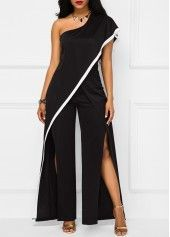 Double Slit One Shoulder Black Jumpsuit | Rosewe.com - USD $34.43