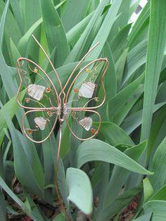 Copper wire butterfly garden stake